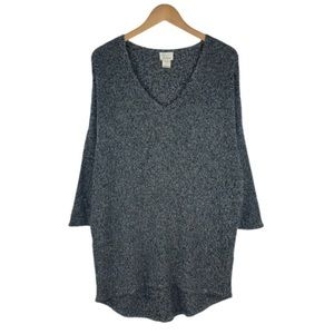 ANDREA JOVINE | Black Marled V-Neck Sweater